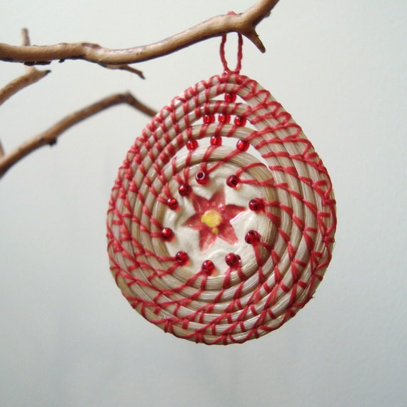 Coiled Horsehair, Christmas Ornament, Red Poinsettia, Basketry