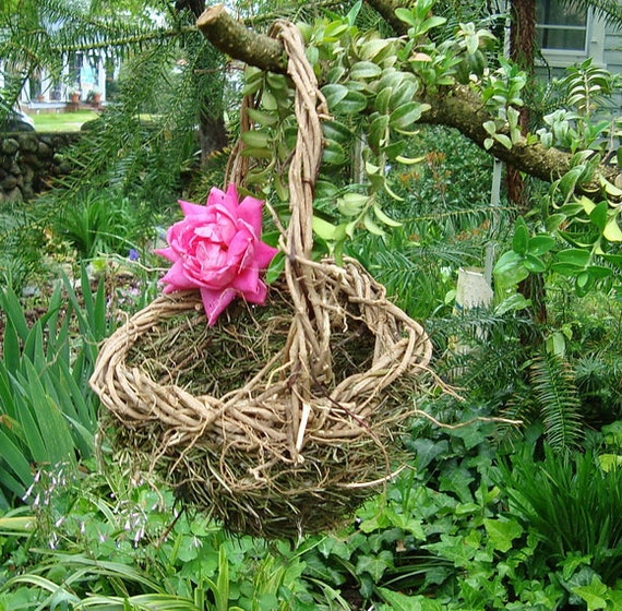 Hanging Rosemary for Remembrance Rustic Flower Girl Wicker Basket  Ready To Ship Ivy H