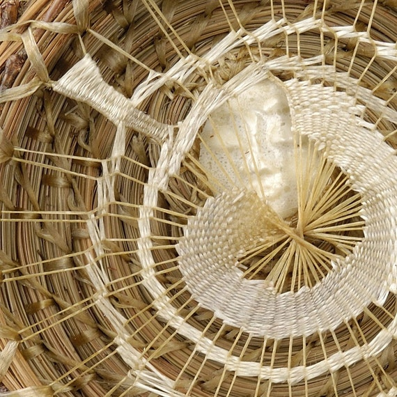 Woven Wall Hanging, Moon Wall Sculpture, Pine Needle Basket - Catching the Pale Moon