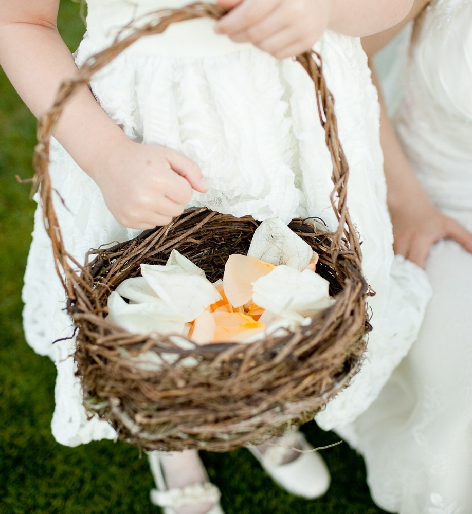 Natural Wicker Flower Girl Baskets : Rosemary for remembrance rustic flower girl basket ready to