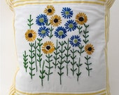 Embroidered French Flowers Pillow