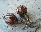 Beaded Earrings Fall Fashion Accessory with Matte Brown and Copper Czech Glass and Antique Brass
