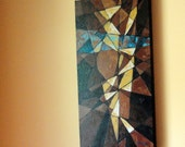 Mid Century Modern Abstract Art: 12 x 24 inch Original Acrylic Textured Painting on Canvas by Robin Pocisk