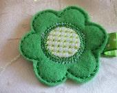 Boutique Green Embroidered Felt Flower Hair Clippie (ITEM 35)