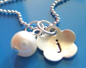 Flower Initial Stamped Necklace - Tiny Flower - Perfect for Teens - Sterling Silver and a Freshwater Pearl - Free Shipping
