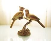 Vintage Brass Birds Figure - Pair of Cardinals