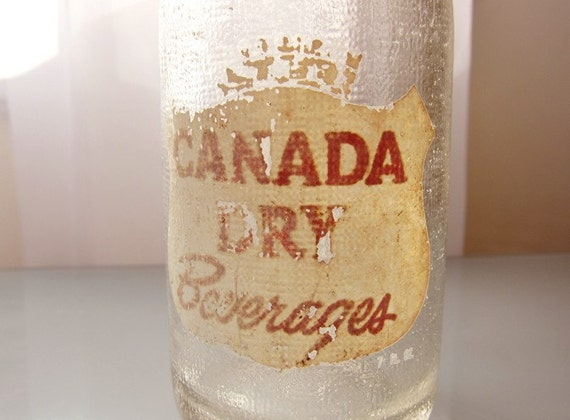 Vintage Glass Soda Bottle Canada Dry Ginger Ale