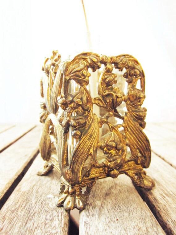 SALE Antique Art Nouveau Claw Foot Perfume Bottle - Single Stem Vase