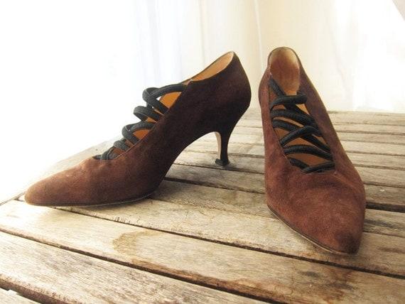 Vintage Suede Brown Heels - Size 7 Designer Made In Italy - Rustic Chocolate Pumps