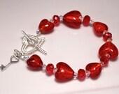 Red Venetian Glass Heart Bracelet (B103)