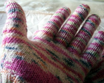 ladies pink and white gloves