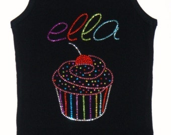 PERsONALIZED BLInG RHINeSTUD CuPCAKE CoUTURE SpARKLE CUsTOM TANK OR TEE