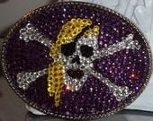 Swarovski Crystal Purple Pirate Skull Belt Buckle ECU