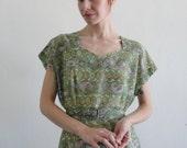 Vintage 1950s Two Piece Dress Jacket . Cocktail Gown . Paisley Cotton