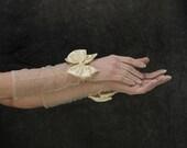 Vintage Sheer Gloves . Wrist Bows . Off White