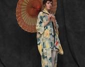 RESERVED . Vintage Silk Japanese Kimono . 1950s . Mid Century . Sky Blue