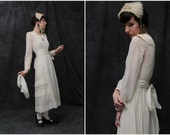 RESERVED Antique Wedding Gown & Head Piece . White Cotton . 1910s . Early 1900s . Edwardian Dress