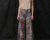 reserved. Authentic Hippie Pants . 1960s Handmade Bell Bottoms . Crazy Print . Denim Look
