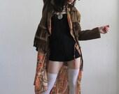 Vintage Fringe Jacket . 1970s . Boho Hippie . Suede and Velvet