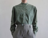 Antique Blouse . Victorian Shirt . Green Dyed . Early 1900s Top