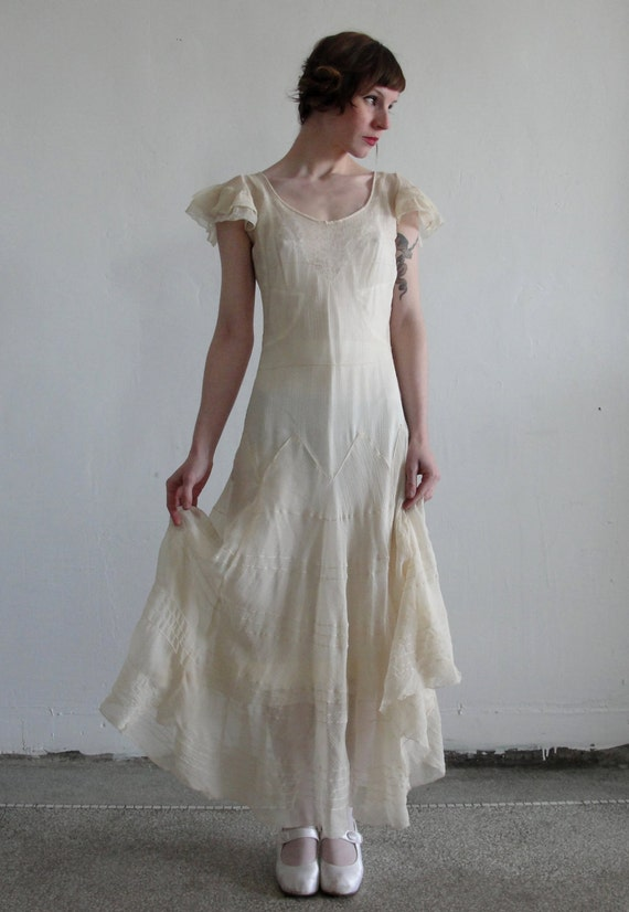 1920s Antique Silk Crepe FLAPPER WEDDING Gown
