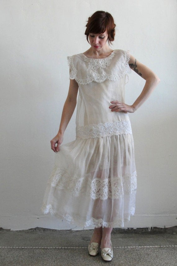 Antique wedding dress 1920s flapper deco 1900s edwardian for Antique inspired wedding dresses