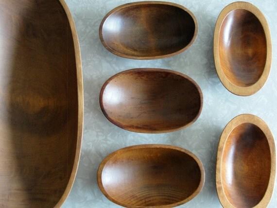 Vintage Wooden Bowls . Set of 6