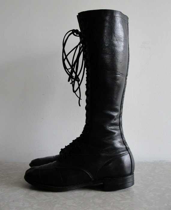 RESERVED . Victorian Black Leather Boots Knee High . Awesome