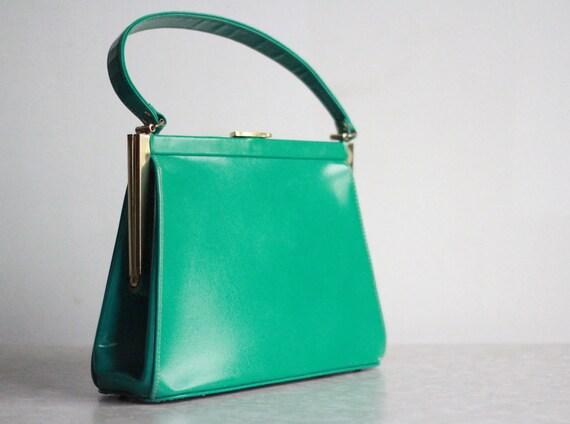 Vintage Purse Kelly Green Leather Handbag 1960s