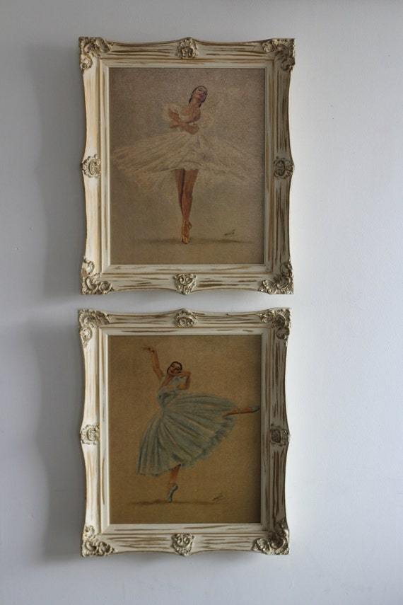 Two Ballerina Pictures . Vintage Home Decor . Wall Hanging Ballet