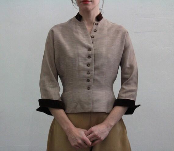 Vintage 1940s cropped riding coat.  Victorian Style . Velvet Trim. Blouse