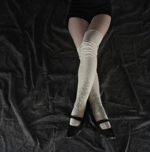 RESERVED .  Antique Cotton Stockings . Embroidery . Above the Knee . White and Mint