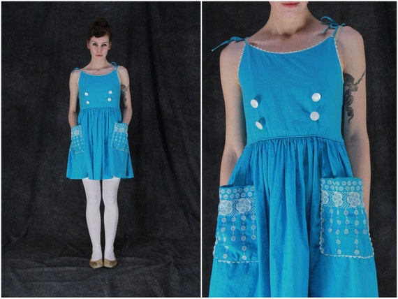 Vintage Teal Sun Dress . Turquoise Cotton . White Embroidery