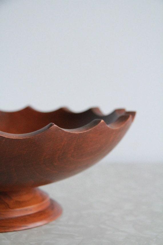 Vintage Wooden Bowl . Spiked Top . Fruit Bowl
