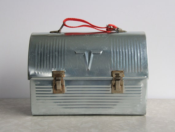 Vintage Lunch Pail . Silver Metal . Red Handle . Industrial . Construction Worker Gear