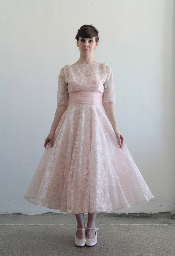 1950s Lace Gown and Top . Two Piece . Pink Chantilly Dress . Bolero Crop Top . High Fashion . Strapless . Size Small