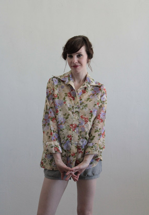 Vintage 70s Pointelle Blouse . Floral Print . Holey . Long Sleeve Summer Wear