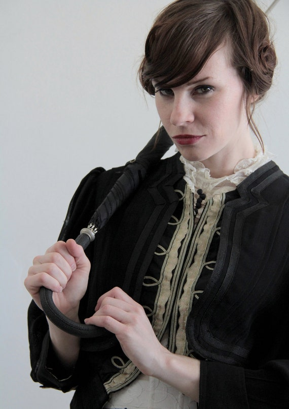 RESERVED . Antique Victorian Jacket . Black Tulle . Ringmaster . 1800s High Fashion Top