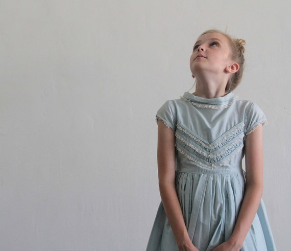 1950s Little Girls Dress . Baby Blue . Lace Ruffles . Chevron Stripes . Kids . Childrens .
