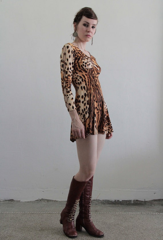 Vintage 60s Mini Dress . Tiger Print . Extra Short . Mod . 1960s Body Con