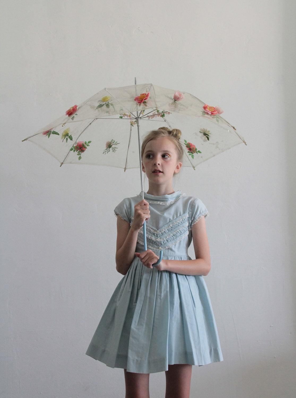 1950s Little Girls Dress Baby Blue Lace Ruffles By