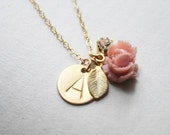 Hand Stamped Initial Necklace with Rose, Personalized Custom Cluster Initial Necklace, Rose Necklace, Bridal, Bridesmaids- Initially Always