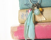 Feather, Colorful Bead, and Triangle Hand Stamped Charm Necklace- Sea Green, Mustard, Rose- Whimsical, Geometric Necklace- Soar