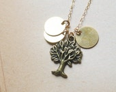Hand Stamped Brass Disc and Tree Necklace, Custom Initial Necklace- You, Me and the Family Tree