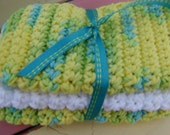 Cotton Crochet Washcloth or Dishcloth set- yellow, green, aqua, white