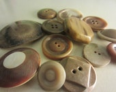 Vintage Buttons - Lot of 13 medium to large novelty buttons, shades of brown (219)