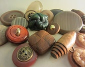 Vintage Buttons - Lot of 18 Brown, rust and dark green mix, some wood, very sweet and old (237)