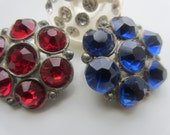 Vintage Buttons - beautiful trio of red, blue and clear rhinestone embellished buttons, very old  (lot no.1069)