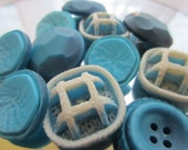 Vintage Buttons - Cottage chic mix of  blue green and  off white, old and sweet - 11 total (1554)