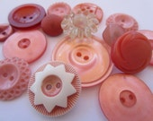 Vintage Buttons - Cottage chic mix of peachy pinks, old and sweet - 15 total (1912)